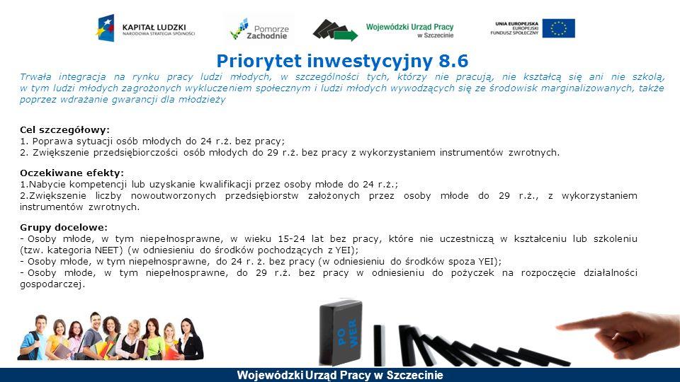 Wojewódzki Urząd Pracy w Szczecinie Priorytet inwestycyjny 8.6 Trwała integracja na rynku pracy ludzi młodych, w szczególności tych, którzy nie pracują, nie kształcą się ani nie szkolą, w tym ludzi młodych zagrożonych wykluczeniem społecznym i ludzi młodych wywodzących się ze środowisk marginalizowanych, także poprzez wdrażanie gwarancji dla młodzieży Cel szczegółowy: 1.