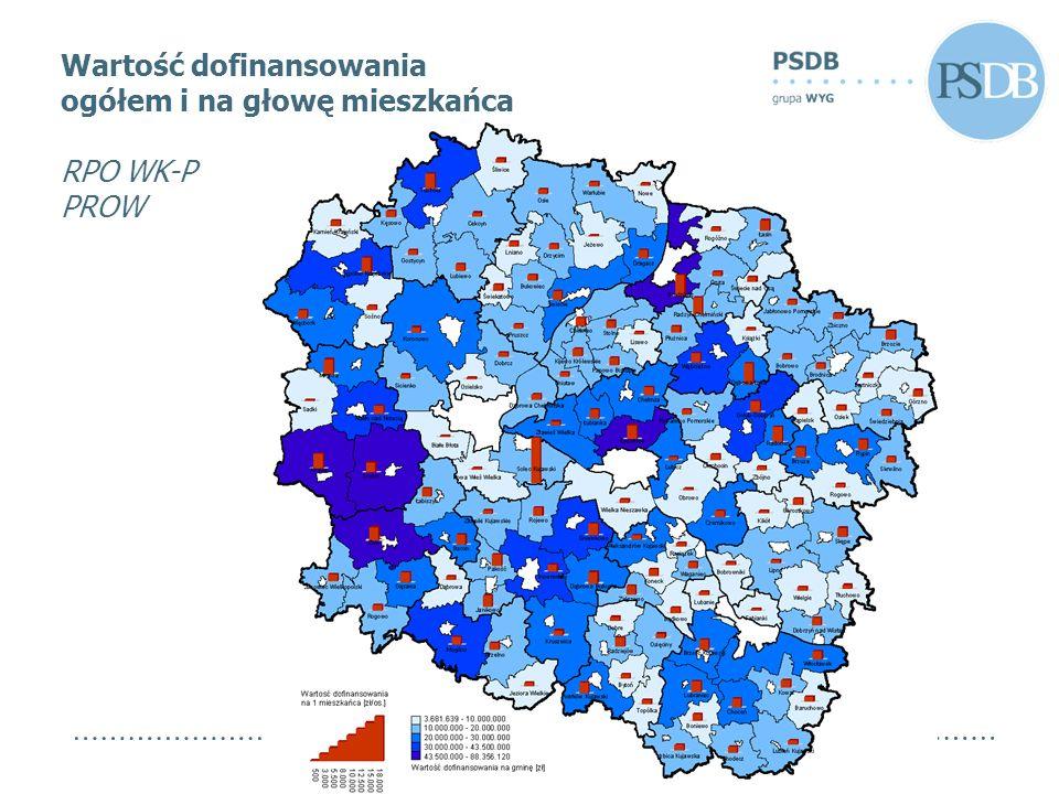 Wartość dofinansowania ogółem i na głowę mieszkańca RPO WK-P PROW