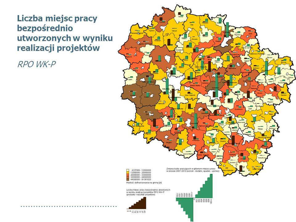 Liczba miejsc pracy bezpośrednio utworzonych w wyniku realizacji projektów RPO WK-P