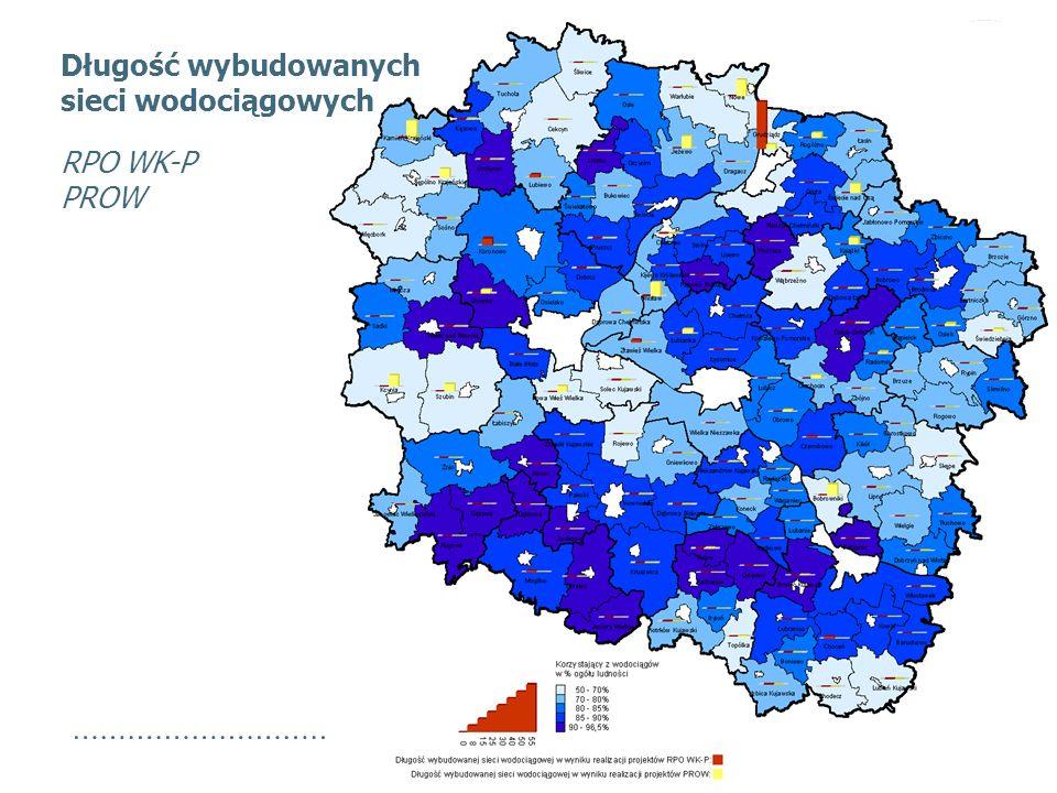 Długość wybudowanych sieci wodociągowych RPO WK-P PROW