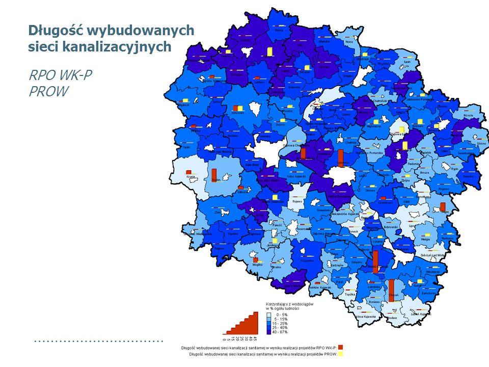 Długość wybudowanych sieci kanalizacyjnych RPO WK-P PROW