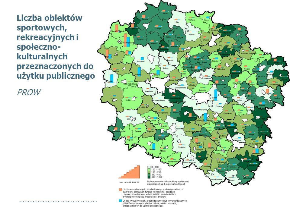Liczba obiektów sportowych, rekreacyjnych i społeczno- kulturalnych przeznaczonych do użytku publicznego PROW