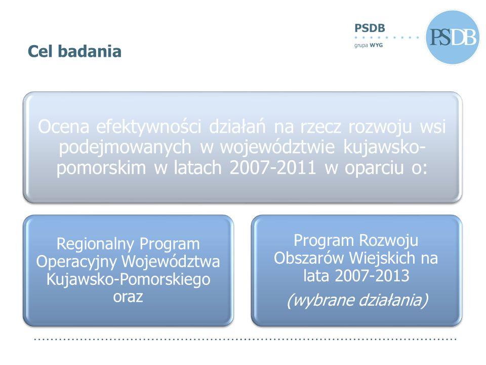 Ocena efektywności działań na rzecz rozwoju wsi podejmowanych w województwie kujawsko- pomorskim w latach 2007-2011 w oparciu o: Regionalny Program Operacyjny Województwa Kujawsko-Pomorskiego oraz Program Rozwoju Obszarów Wiejskich na lata 2007-2013 (wybrane działania) Cel badania