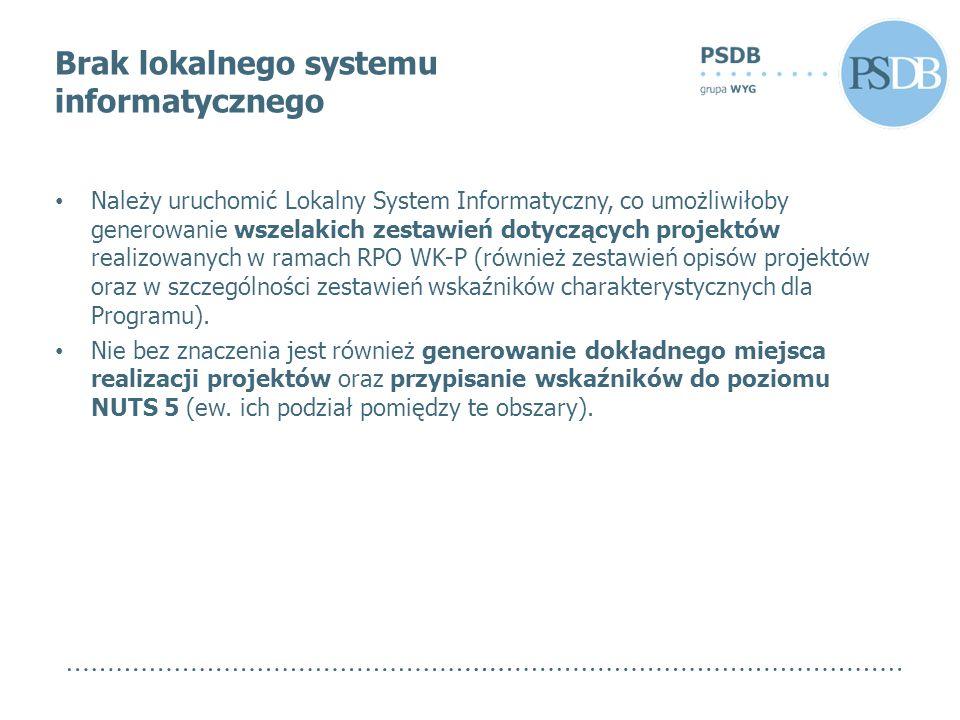 Brak lokalnego systemu informatycznego Należy uruchomić Lokalny System Informatyczny, co umożliwiłoby generowanie wszelakich zestawień dotyczących projektów realizowanych w ramach RPO WK-P (również zestawień opisów projektów oraz w szczególności zestawień wskaźników charakterystycznych dla Programu).