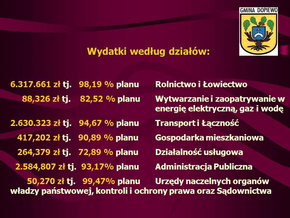 Wydatki według działów: 6.317.661 zł tj. 98,19 % planu Rolnictwo i Łowiectwo 88,326 zł tj.