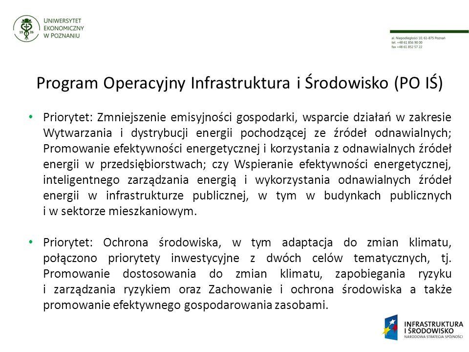 Program Operacyjny Infrastruktura i Środowisko (PO IŚ) Priorytet: Zmniejszenie emisyjności gospodarki, wsparcie działań w zakresie Wytwarzania i dystrybucji energii pochodzącej ze źródeł odnawialnych; Promowanie efektywności energetycznej i korzystania z odnawialnych źródeł energii w przedsiębiorstwach; czy Wspieranie efektywności energetycznej, inteligentnego zarządzania energią i wykorzystania odnawialnych źródeł energii w infrastrukturze publicznej, w tym w budynkach publicznych i w sektorze mieszkaniowym.
