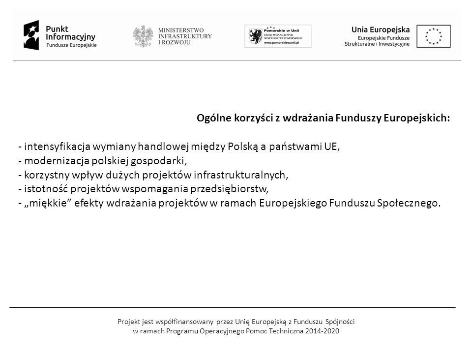 """Projekt jest współfinansowany przez Unię Europejską z Funduszu Spójności w ramach Programu Operacyjnego Pomoc Techniczna 2014-2020 Ogólne korzyści z wdrażania Funduszy Europejskich: - intensyfikacja wymiany handlowej między Polską a państwami UE, - modernizacja polskiej gospodarki, - korzystny wpływ dużych projektów infrastrukturalnych, - istotność projektów wspomagania przedsiębiorstw, - """"miękkie efekty wdrażania projektów w ramach Europejskiego Funduszu Społecznego."""