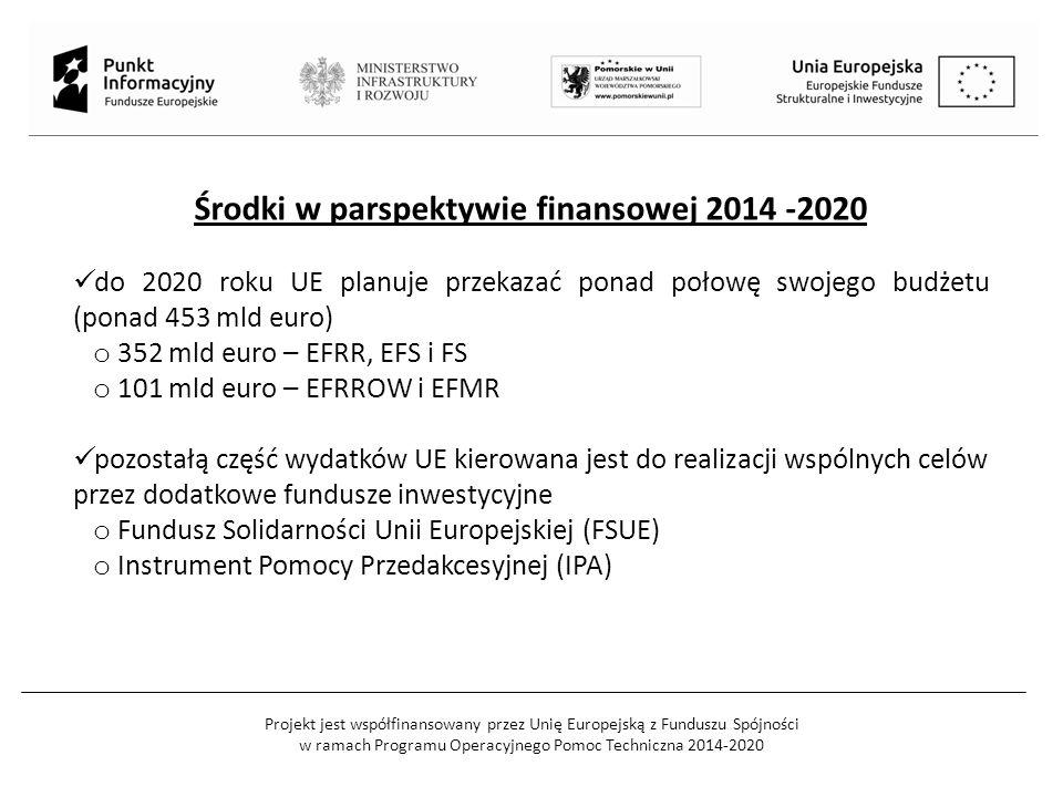 Projekt jest współfinansowany przez Unię Europejską z Funduszu Spójności w ramach Programu Operacyjnego Pomoc Techniczna 2014-2020 Środki w parspektywie finansowej 2014 -2020 do 2020 roku UE planuje przekazać ponad połowę swojego budżetu (ponad 453 mld euro) o 352 mld euro – EFRR, EFS i FS o 101 mld euro – EFRROW i EFMR pozostałą część wydatków UE kierowana jest do realizacji wspólnych celów przez dodatkowe fundusze inwestycyjne o Fundusz Solidarności Unii Europejskiej (FSUE) o Instrument Pomocy Przedakcesyjnej (IPA)