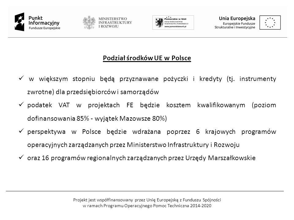 Projekt jest współfinansowany przez Unię Europejską z Funduszu Spójności w ramach Programu Operacyjnego Pomoc Techniczna 2014-2020 Podział środków UE w Polsce w większym stopniu będą przyznawane pożyczki i kredyty (tj.