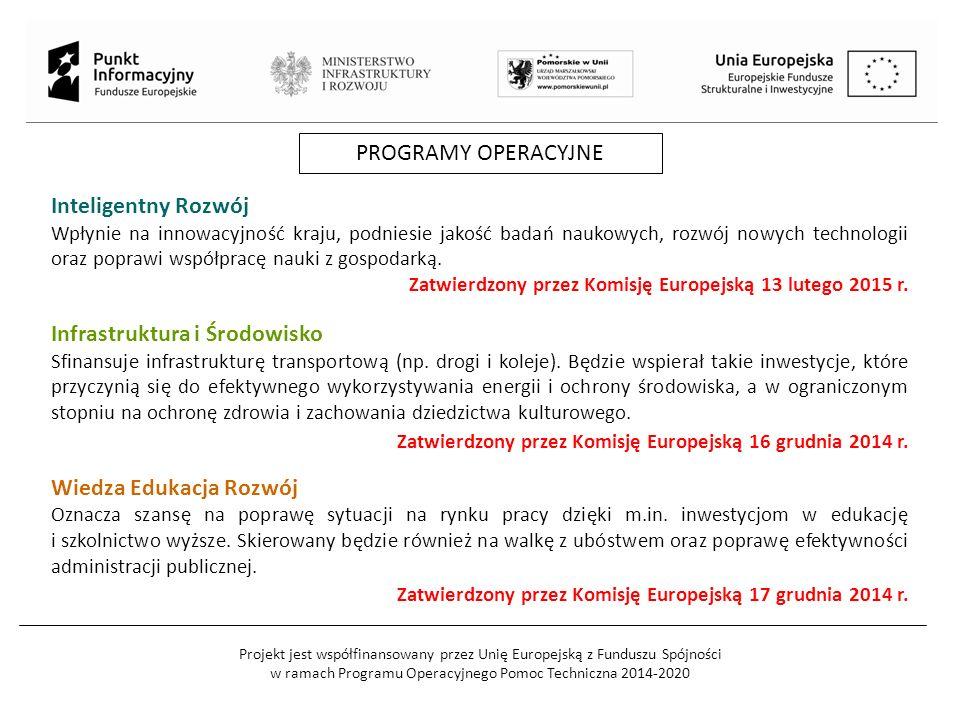 Projekt jest współfinansowany przez Unię Europejską z Funduszu Spójności w ramach Programu Operacyjnego Pomoc Techniczna 2014-2020 PROGRAMY OPERACYJNE Inteligentny Rozwój Wpłynie na innowacyjność kraju, podniesie jakość badań naukowych, rozwój nowych technologii oraz poprawi współpracę nauki z gospodarką.