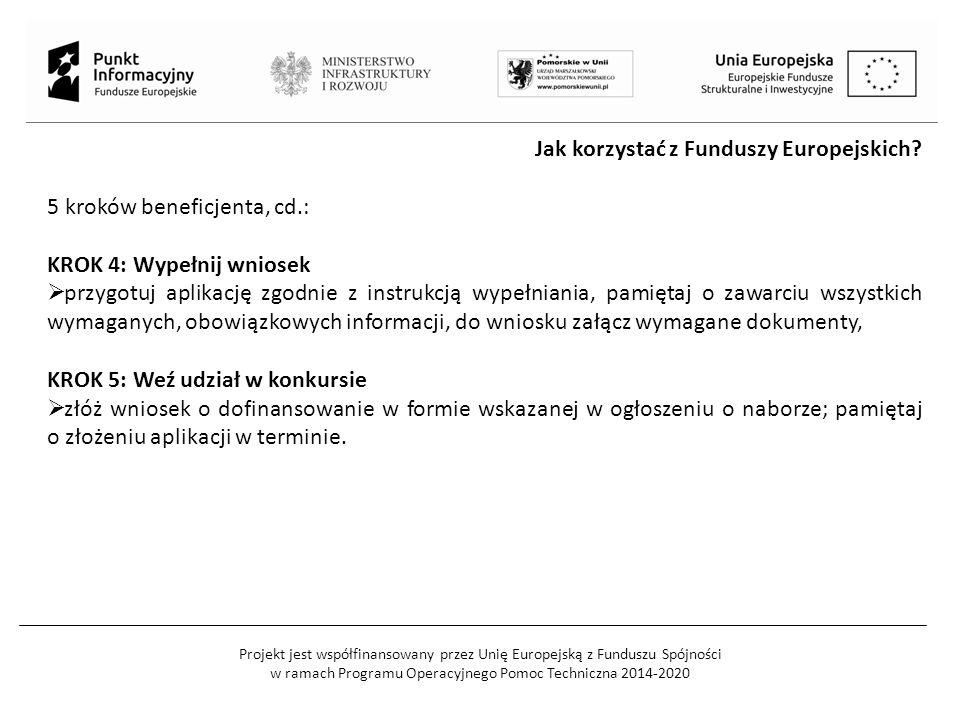 Projekt jest współfinansowany przez Unię Europejską z Funduszu Spójności w ramach Programu Operacyjnego Pomoc Techniczna 2014-2020 Jak korzystać z Funduszy Europejskich.