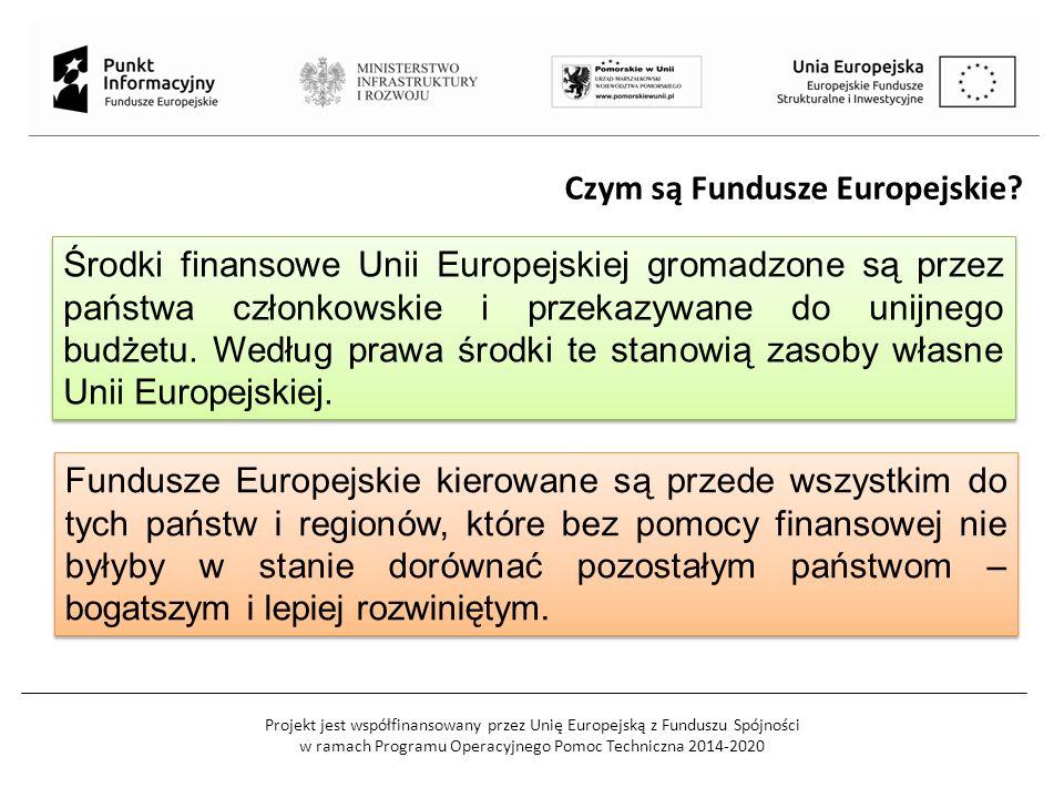 Projekt jest współfinansowany przez Unię Europejską z Funduszu Spójności w ramach Programu Operacyjnego Pomoc Techniczna 2014-2020 Czym są Fundusze Europejskie.