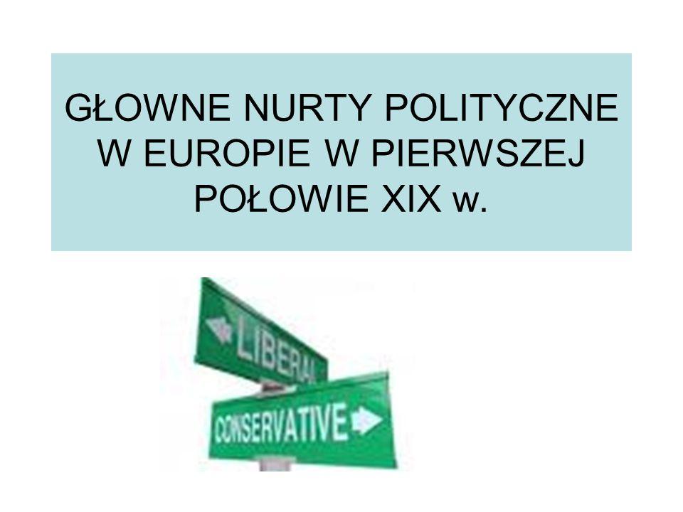 GŁOWNE NURTY POLITYCZNE W EUROPIE W PIERWSZEJ POŁOWIE XIX w.