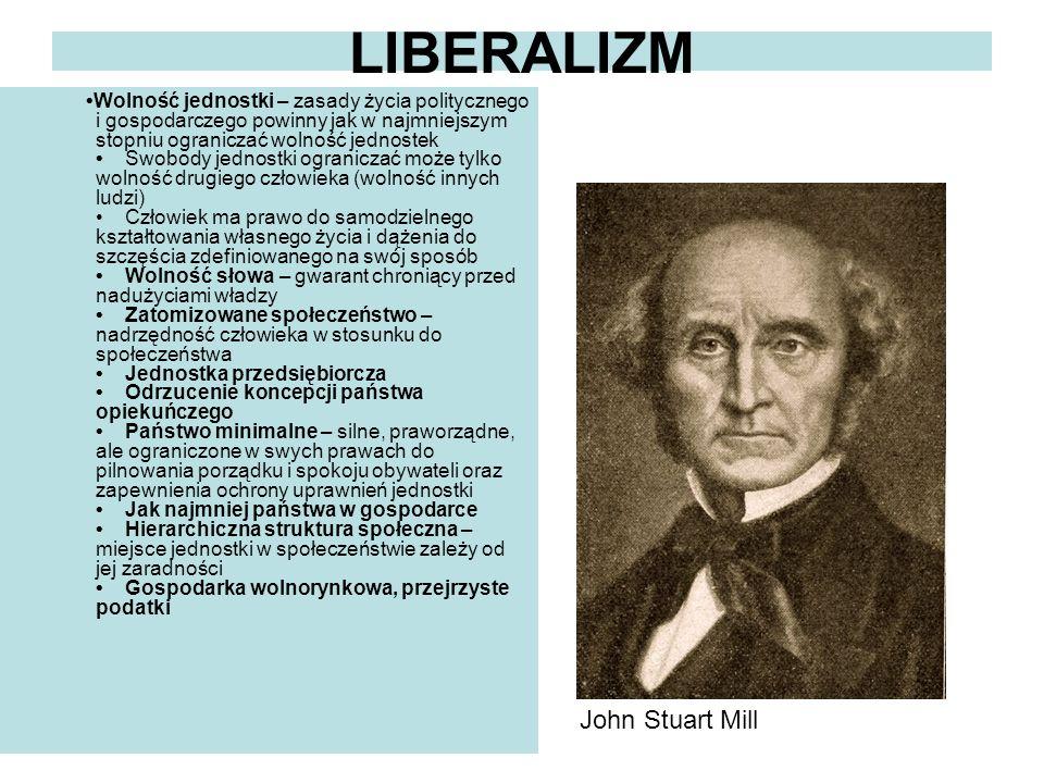 LIBERALIZM Wolność jednostki – zasady życia politycznego i gospodarczego powinny jak w najmniejszym stopniu ograniczać wolność jednostek Swobody jedno