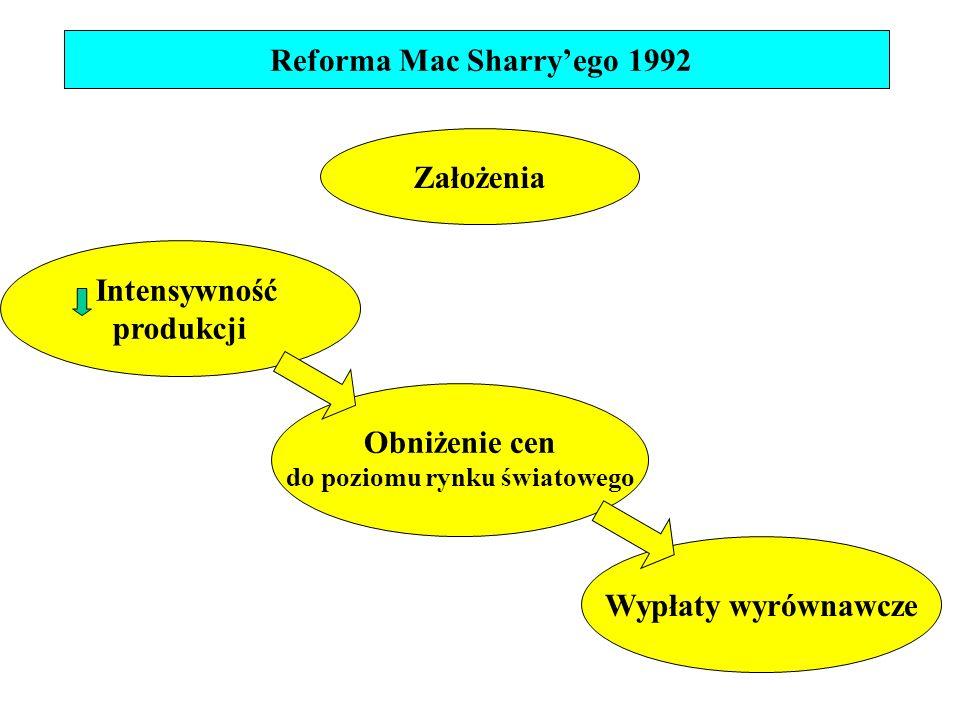 Założenia Intensywność produkcji Obniżenie cen do poziomu rynku światowego Wypłaty wyrównawcze Reforma Mac Sharry'ego 1992