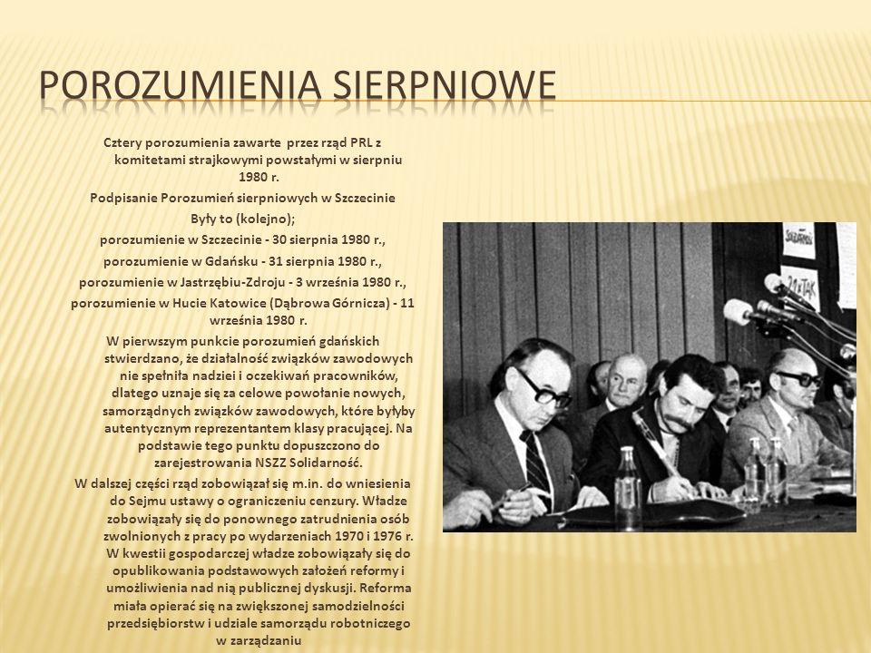 Cztery porozumienia zawarte przez rząd PRL z komitetami strajkowymi powstałymi w sierpniu 1980 r.