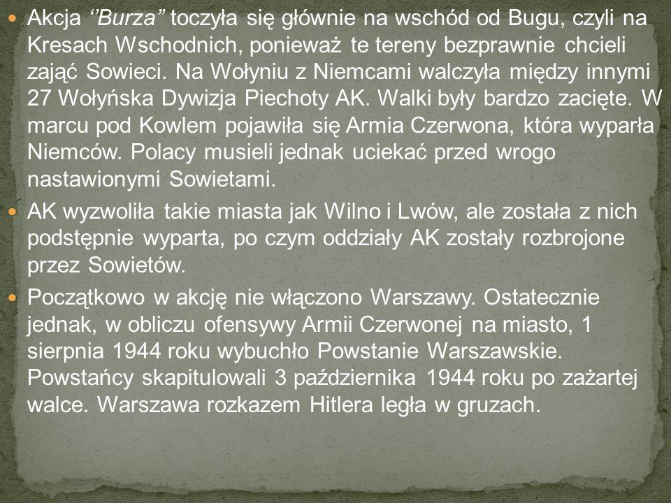Akcja ''Burza'' toczyła się głównie na wschód od Bugu, czyli na Kresach Wschodnich, ponieważ te tereny bezprawnie chcieli zająć Sowieci.