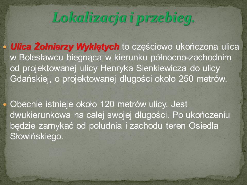 Ulica Żołnierzy Wyklętych Ulica Żołnierzy Wyklętych to częściowo ukończona ulica w Bolesławcu biegnąca w kierunku północno-zachodnim od projektowanej ulicy Henryka Sienkiewicza do ulicy Gdańskiej, o projektowanej długości około 250 metrów.