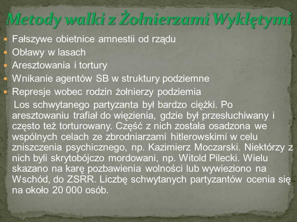 Fałszywe obietnice amnestii od rządu Obławy w lasach Aresztowania i tortury Wnikanie agentów SB w struktury podziemne Represje wobec rodzin żołnierzy podziemia Los schwytanego partyzanta był bardzo ciężki.