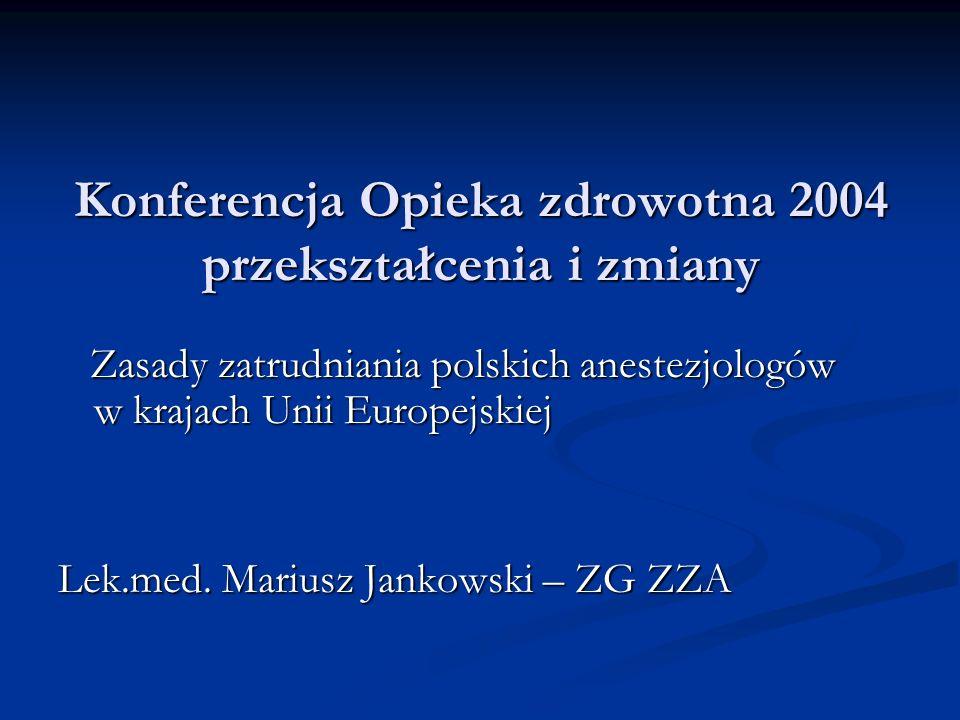 Konferencja Opieka zdrowotna 2004 przekształcenia i zmiany Zasady zatrudniania polskich anestezjologów w krajach Unii Europejskiej Zasady zatrudniania