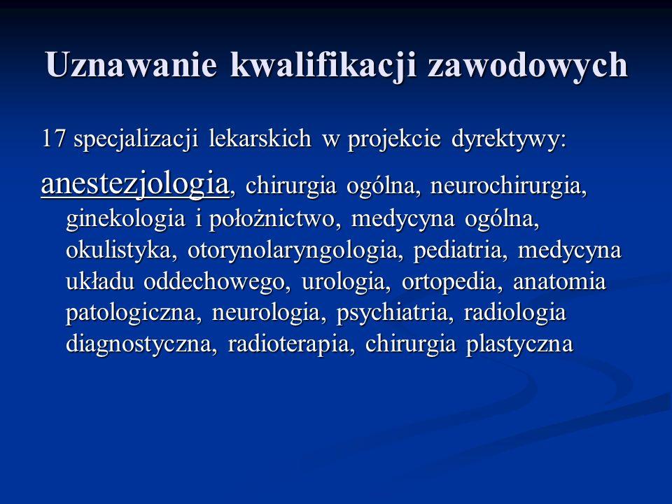 Uznawanie kwalifikacji zawodowych 17 specjalizacji lekarskich w projekcie dyrektywy: anestezjologia, chirurgia ogólna, neurochirurgia, ginekologia i położnictwo, medycyna ogólna, okulistyka, otorynolaryngologia, pediatria, medycyna układu oddechowego, urologia, ortopedia, anatomia patologiczna, neurologia, psychiatria, radiologia diagnostyczna, radioterapia, chirurgia plastyczna