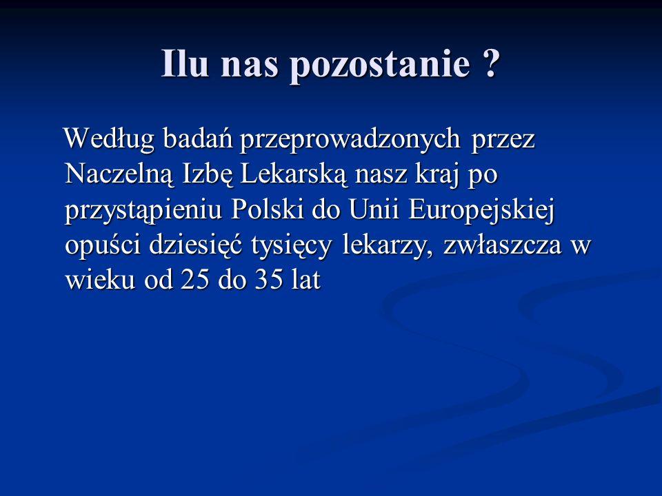 Ilu nas pozostanie ? Według badań przeprowadzonych przez Naczelną Izbę Lekarską nasz kraj po przystąpieniu Polski do Unii Europejskiej opuści dziesięć