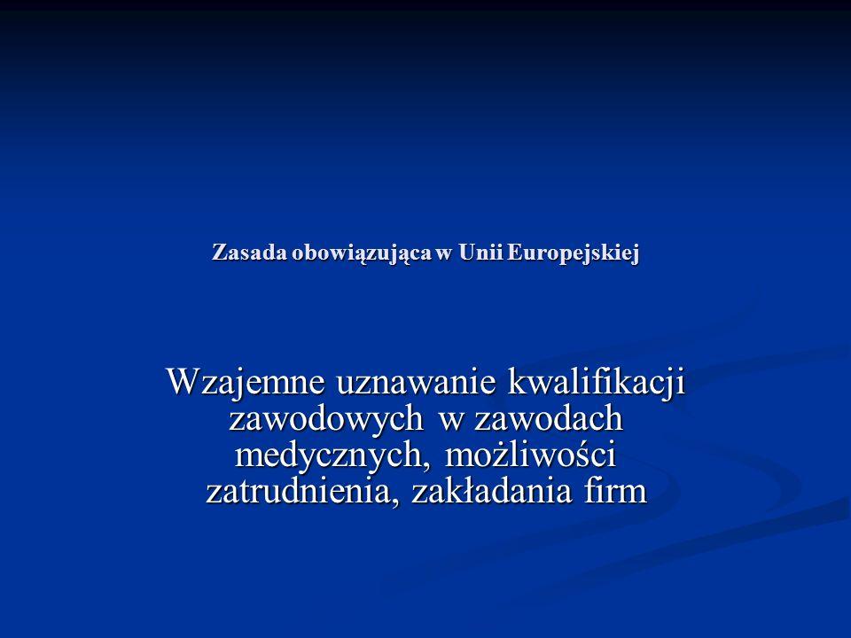 Zasada obowiązująca w Unii Europejskiej Wzajemne uznawanie kwalifikacji zawodowych w zawodach medycznych, możliwości zatrudnienia, zakładania firm