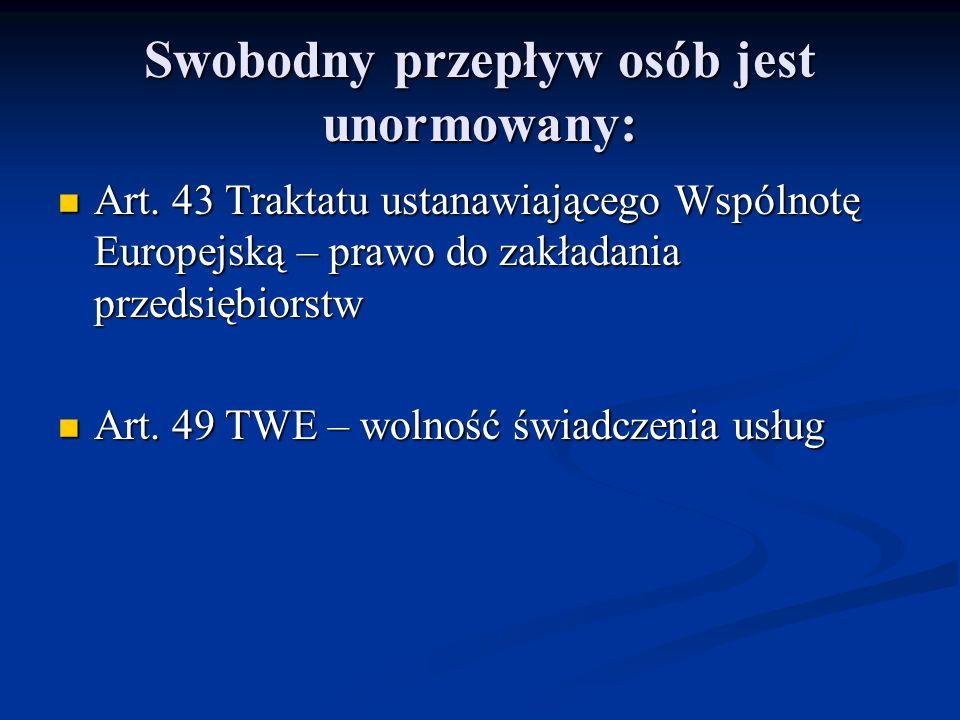 Swobodny przepływ osób jest unormowany: Art. 43 Traktatu ustanawiającego Wspólnotę Europejską – prawo do zakładania przedsiębiorstw Art. 43 Traktatu u