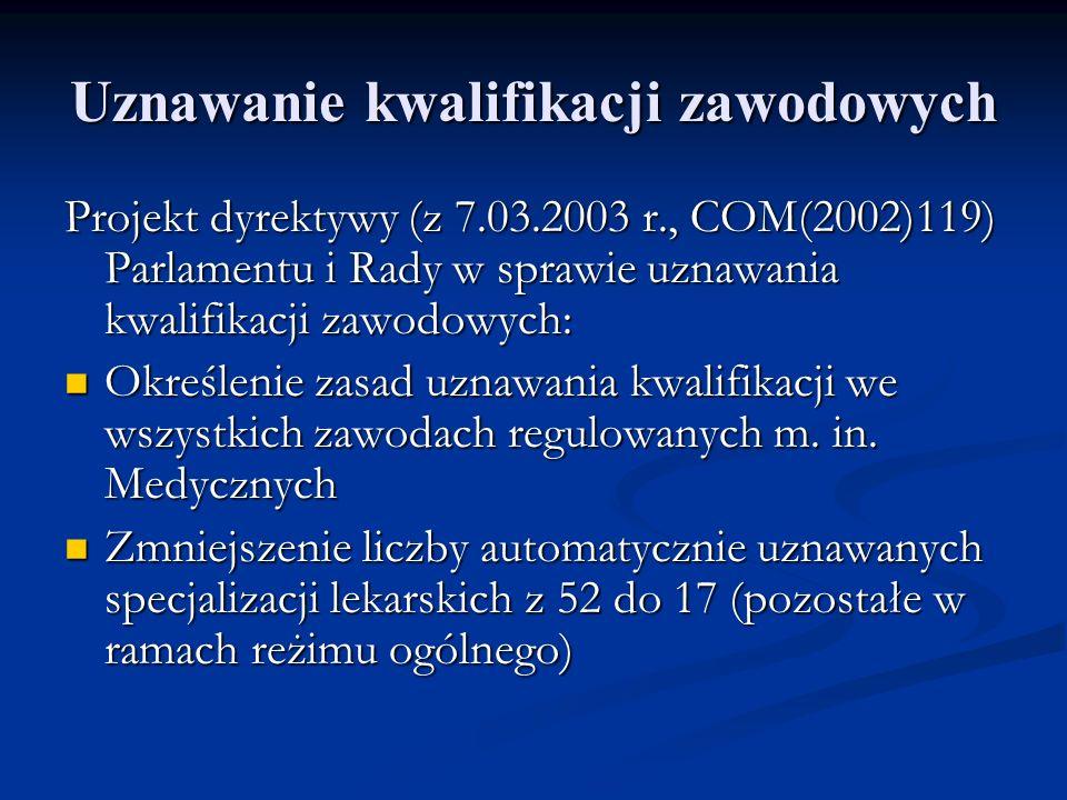 Uznawanie kwalifikacji zawodowych Projekt dyrektywy (z 7.03.2003 r., COM(2002)119) Parlamentu i Rady w sprawie uznawania kwalifikacji zawodowych: Okre