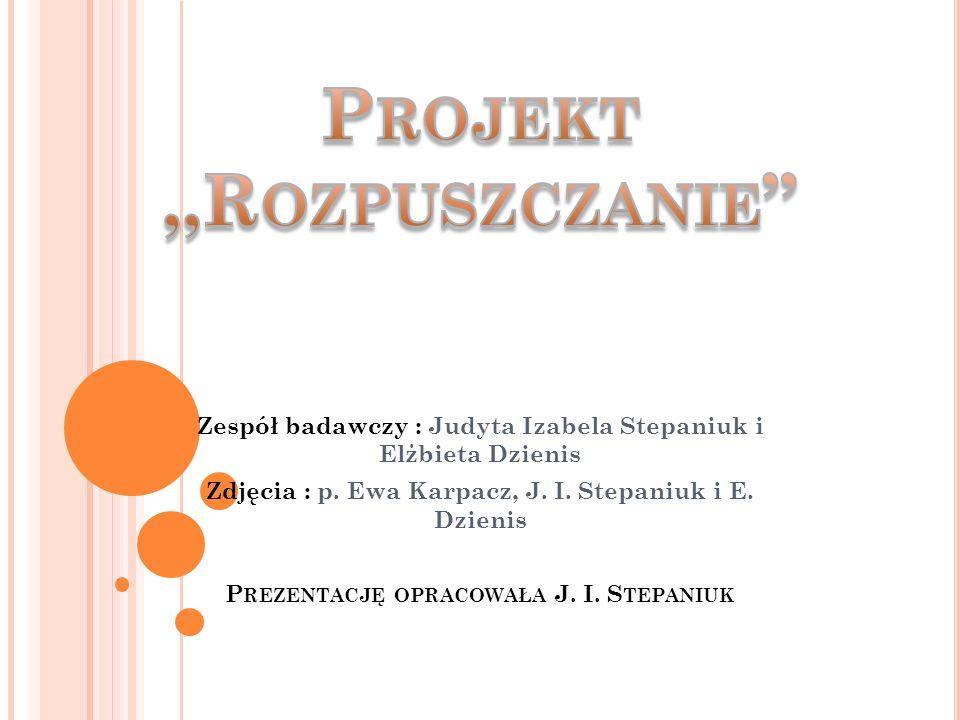 Zespół badawczy : Judyta Izabela Stepaniuk i Elżbieta Dzienis Zdjęcia : p.
