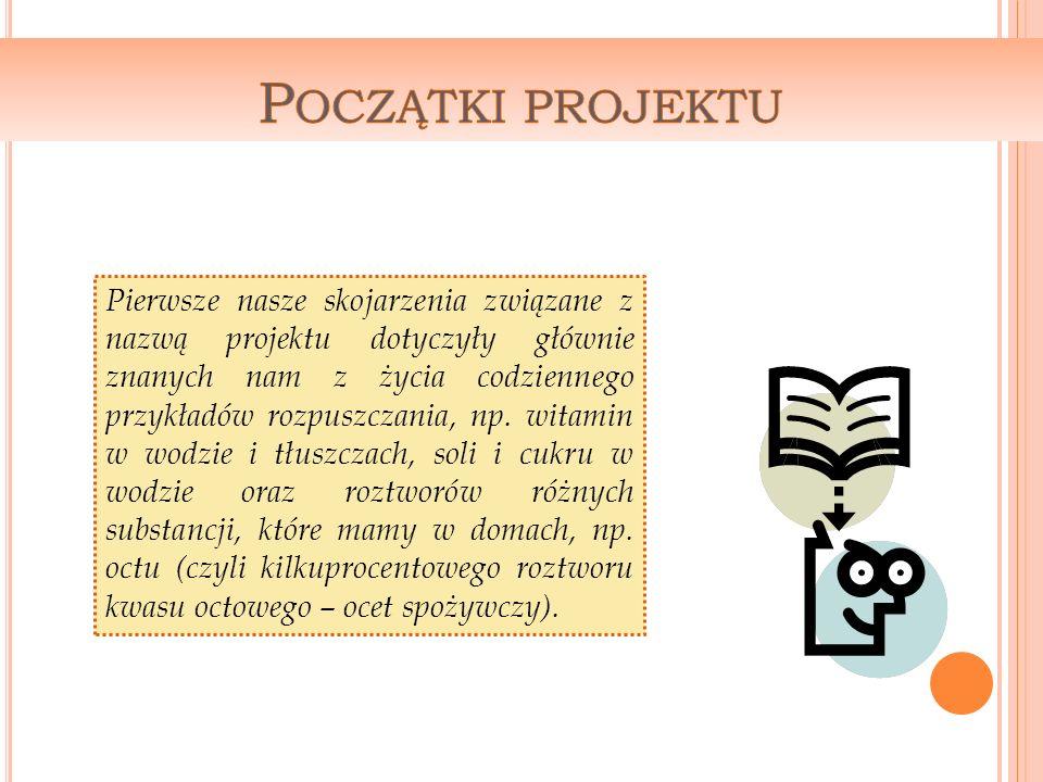 Pierwsze nasze skojarzenia związane z nazwą projektu dotyczyły głównie znanych nam z życia codziennego przykładów rozpuszczania, np.