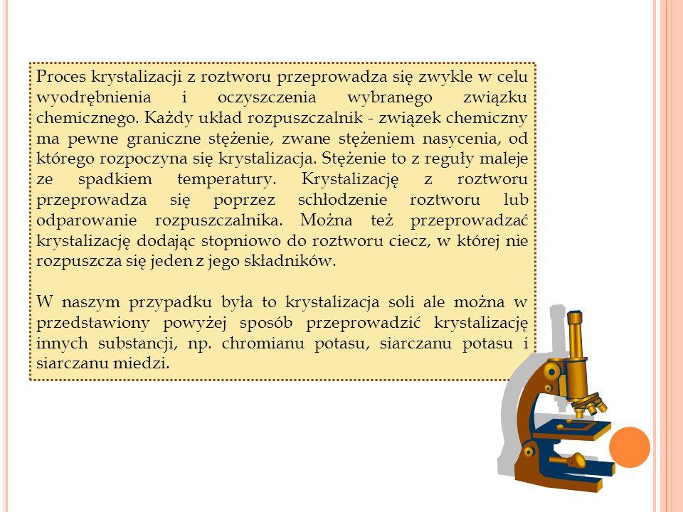 Proces krystalizacji z roztworu przeprowadza się zwykle w celu wyodrębnienia i oczyszczenia wybranego związku chemicznego.