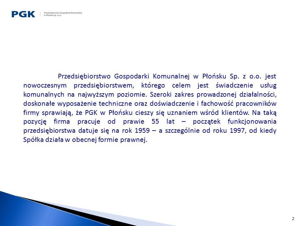2 Przedsiębiorstwo Gospodarki Komunalnej w Płońsku Sp. z o.o. jest nowoczesnym przedsiębiorstwem, którego celem jest świadczenie usług komunalnych na