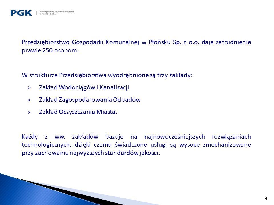 4 Przedsiębiorstwo Gospodarki Komunalnej w Płońsku Sp. z o.o. daje zatrudnienie prawie 250 osobom. W strukturze Przedsiębiorstwa wyodrębnione są trzy