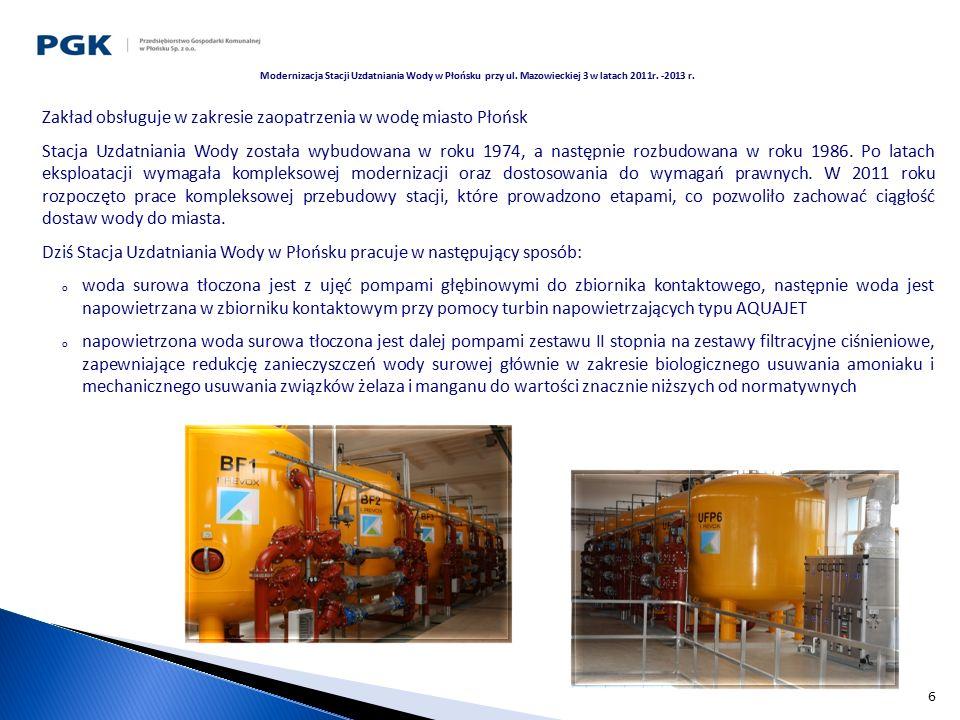 7 o płukanie złóż filtracyjnych odbywa się wodą surową oraz powietrzem o w trakcie fazy serwisowej filtrów podawany jest nadmanganian potasu o stężeniu 3% do wody uzdatnianej po I stopniu filtracji, w celu aktywacji złoża filtracyjnego o odprowadzenie wód popłucznych odbywa się do zbiorników popłuczyn, sklarowane wody są przepompowywane do pobliskiego rowu o woda uzdatniona ze zbiorników wody uzdatnionej jest podawana do sieci wodociągowej zestawem pomp sterowanych wg opracowanego dla miasta programu komputerowego o dezynfekcja końcowa odbywa się doraźnie przez dozowanie podchlorynu sodu do rurociągu prowadzącego do zbiorników wody czystej.
