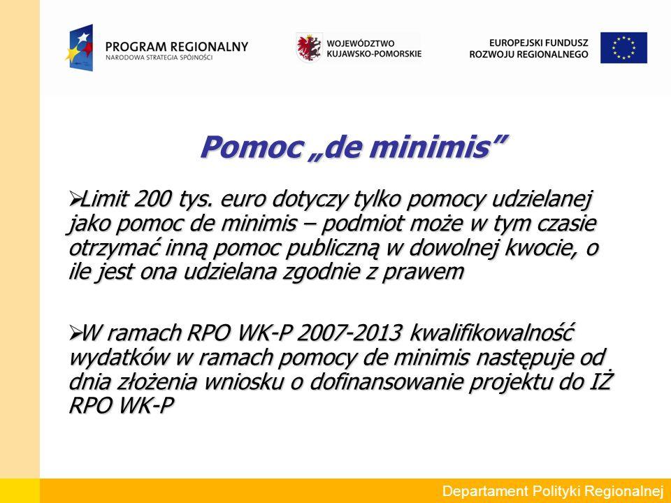"""Pomoc """"de minimis Pomoc """"de minimis  Limit 200 tys."""