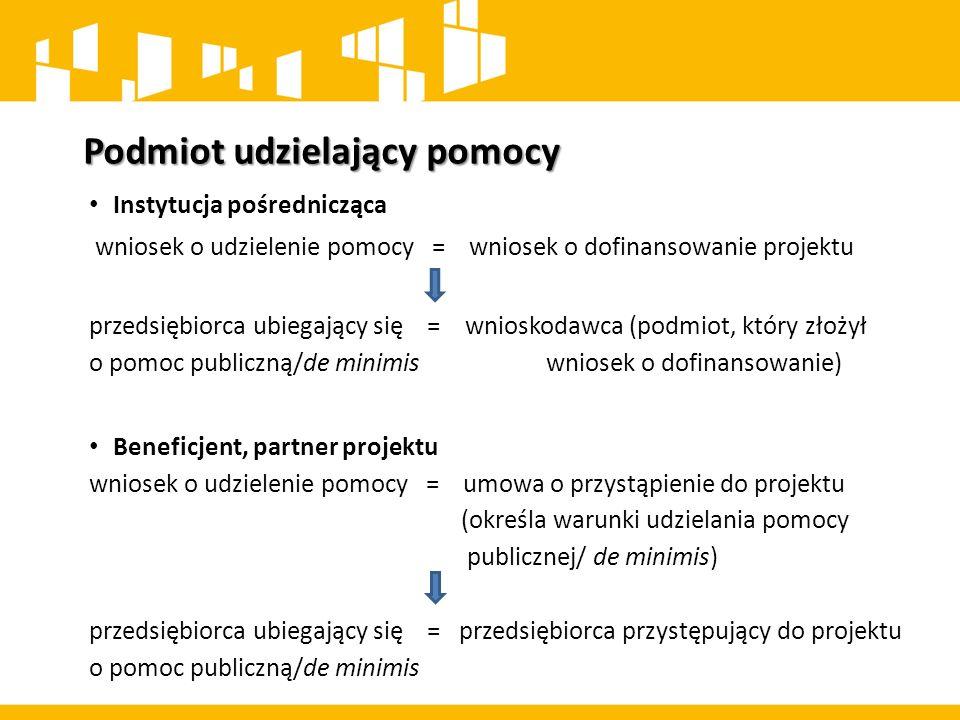 Podmiot udzielający pomocy Instytucja pośrednicząca wniosek o udzielenie pomocy = wniosek o dofinansowanie projektu przedsiębiorca ubiegający się = wn