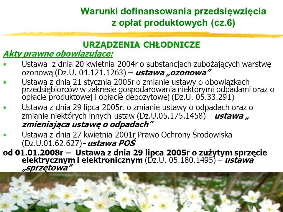 URZĄDZENIA CHŁODNICZE Akty prawne obowiązujące: Ustawa z dnia 20 kwietnia 2004r o substancjach zubożających warstwę ozonową (Dz.U.