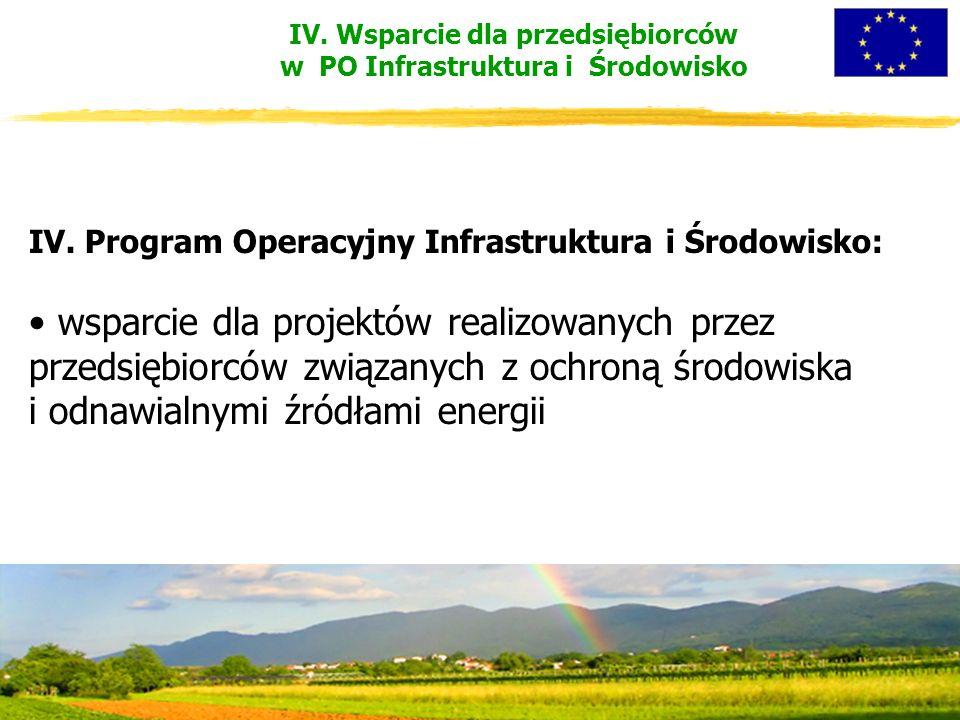 IV. Wsparcie dla przedsiębiorców w PO Infrastruktura i Środowisko IV.