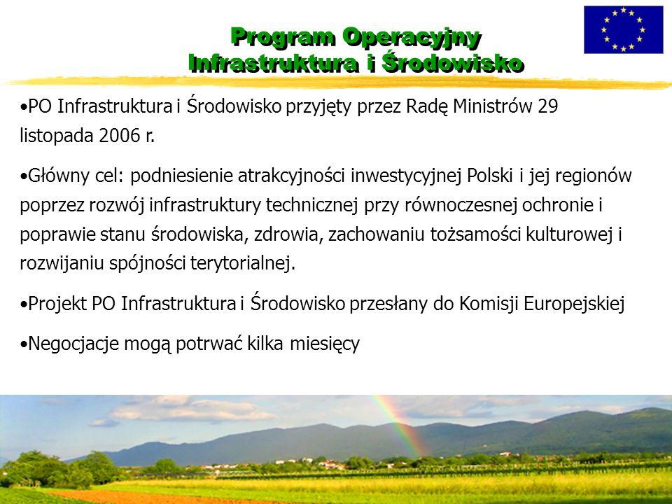 Program Operacyjny Infrastruktura i Środowisko PO Infrastruktura i Środowisko przyjęty przez Radę Ministrów 29 listopada 2006 r.