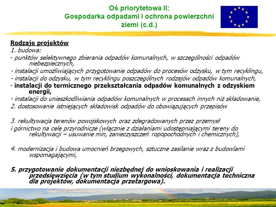 Oś priorytetowa II: Gospodarka odpadami i ochrona powierzchni ziemi (c.d.) Rodzaje projektów 1.