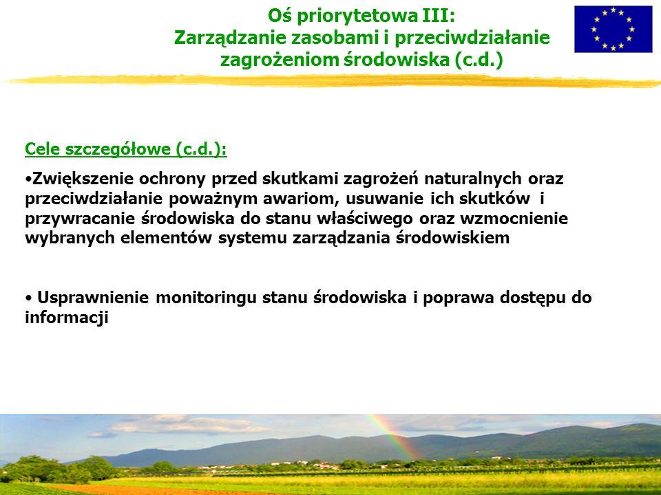 Cele szczegółowe (c.d.): Zwiększenie ochrony przed skutkami zagrożeń naturalnych oraz przeciwdziałanie poważnym awariom, usuwanie ich skutków i przywracanie środowiska do stanu właściwego oraz wzmocnienie wybranych elementów systemu zarządzania środowiskiem Usprawnienie monitoringu stanu środowiska i poprawa dostępu do informacji Oś priorytetowa III: Zarządzanie zasobami i przeciwdziałanie zagrożeniom środowiska (c.d.)