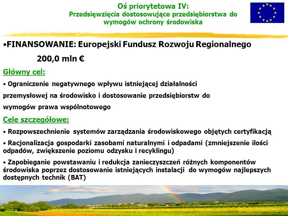 FINANSOWANIE: Europejski Fundusz Rozwoju Regionalnego 200,0 mln € Główny cel: Ograniczenie negatywnego wpływu istniejącej działalności przemysłowej na środowisko i dostosowanie przedsiębiorstw do wymogów prawa wspólnotowego Cele szczegółowe: Rozpowszechnienie systemów zarządzania środowiskowego objętych certyfikacją Racjonalizacja gospodarki zasobami naturalnymi i odpadami (zmniejszenie ilości odpadów, zwiększenie poziomu odzysku i recyklingu) Zapobieganie powstawaniu i redukcja zanieczyszczeń różnych komponentów środowiska poprzez dostosowanie istniejących instalacji do wymogów najlepszych dostępnych technik (BAT) Oś priorytetowa IV: Przedsięwzięcia dostosowujące przedsiębiorstwa do wymogów ochrony środowiska