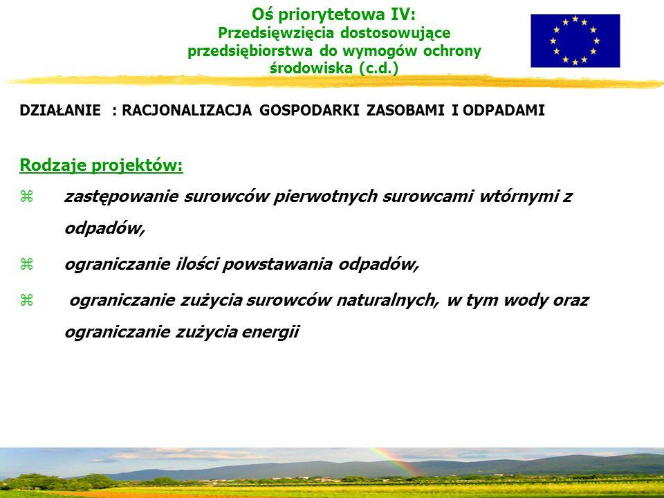 DZIAŁANIE : RACJONALIZACJA GOSPODARKI ZASOBAMI I ODPADAMI Rodzaje projektów: zzastępowanie surowców pierwotnych surowcami wtórnymi z odpadów, zograniczanie ilości powstawania odpadów, z ograniczanie zużycia surowców naturalnych, w tym wody oraz ograniczanie zużycia energii Oś priorytetowa IV: Przedsięwzięcia dostosowujące przedsiębiorstwa do wymogów ochrony środowiska (c.d.)