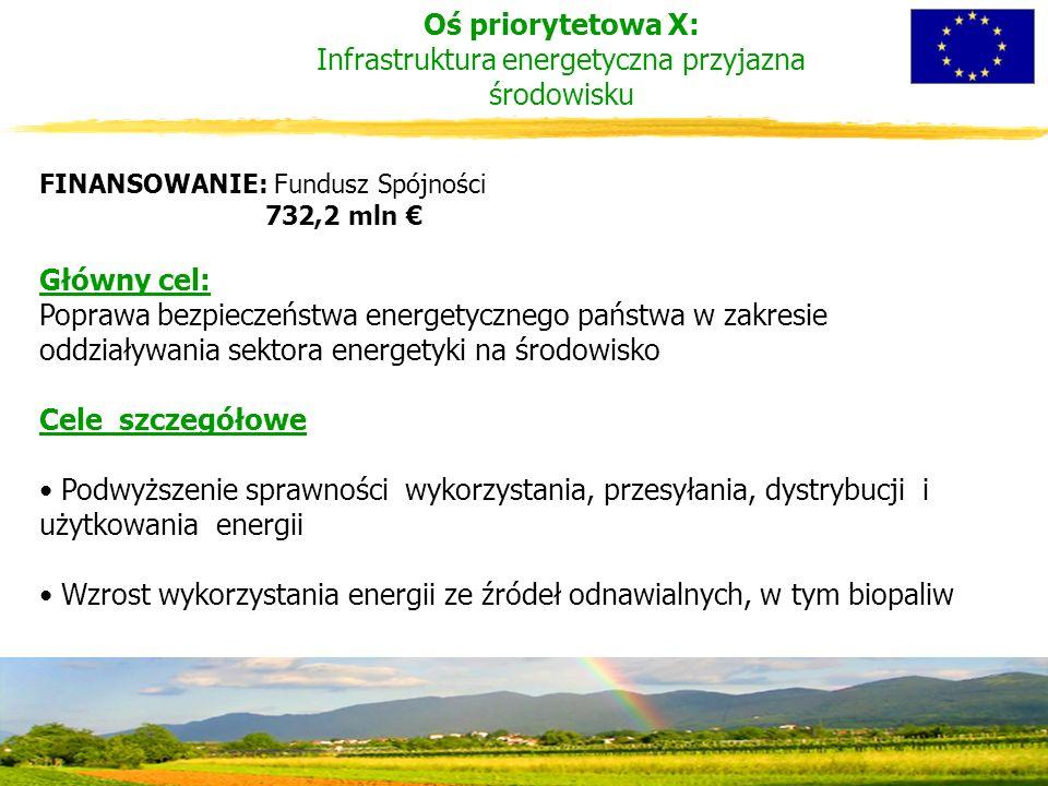 Oś priorytetowa X: Infrastruktura energetyczna przyjazna środowisku FINANSOWANIE: Fundusz Spójności 732,2 mln € Główny cel: Poprawa bezpieczeństwa energetycznego państwa w zakresie oddziaływania sektora energetyki na środowisko Cele szczegółowe Podwyższenie sprawności wykorzystania, przesyłania, dystrybucji i użytkowania energii Wzrost wykorzystania energii ze źródeł odnawialnych, w tym biopaliw