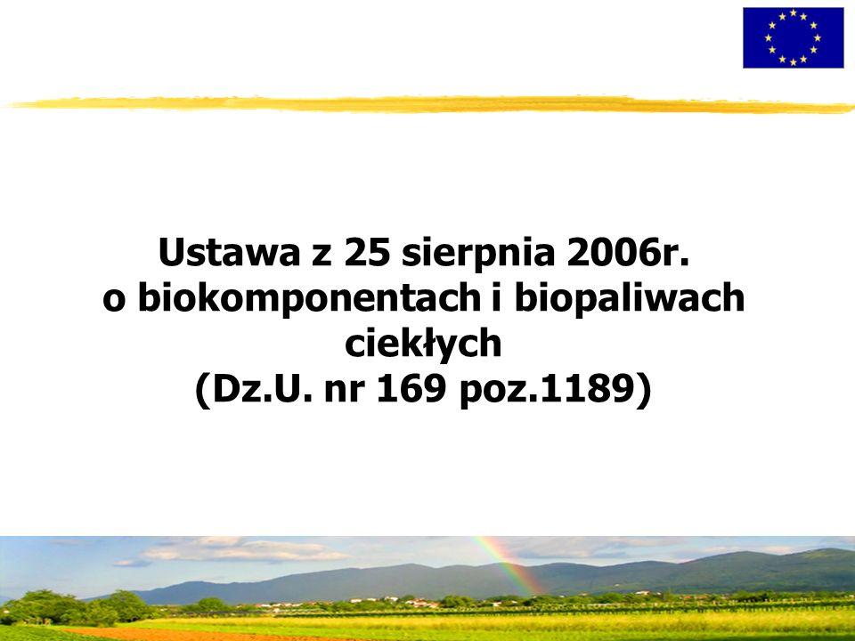 Ustawa z 25 sierpnia 2006r. o biokomponentach i biopaliwach ciekłych (Dz.U. nr 169 poz.1189)