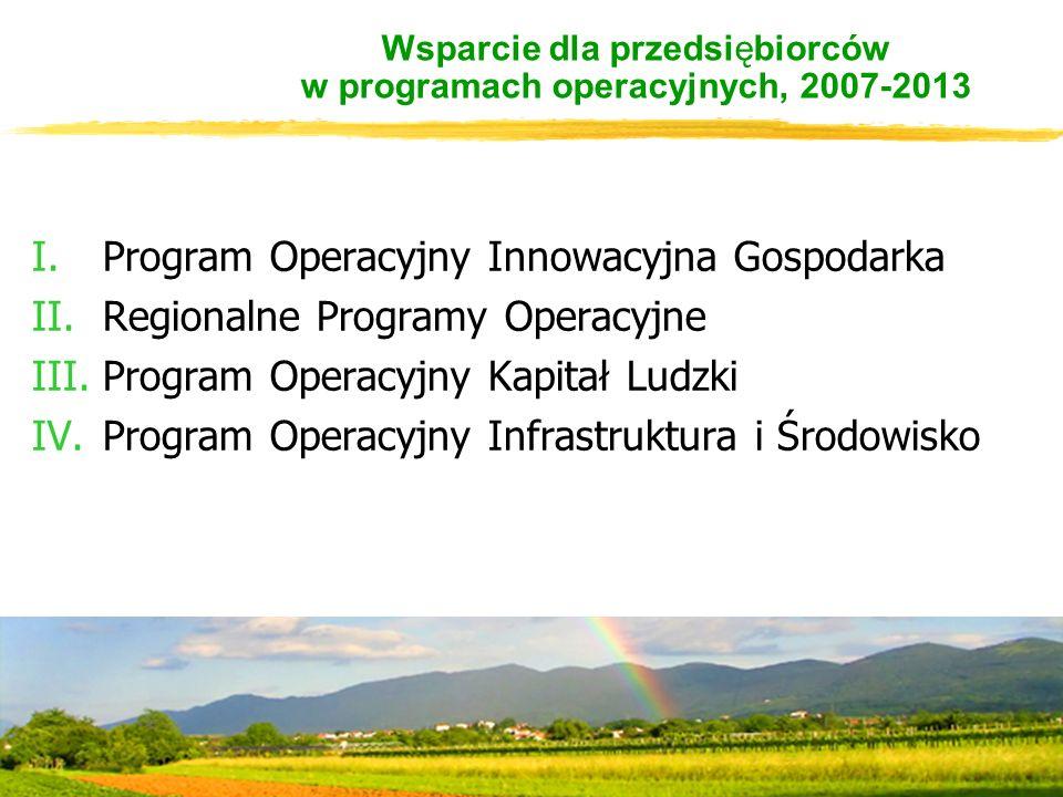 Wsparcie dla przedsiębiorców w programach operacyjnych, 2007-2013 I.Program Operacyjny Innowacyjna Gospodarka II.Regionalne Programy Operacyjne III.Program Operacyjny Kapitał Ludzki IV.Program Operacyjny Infrastruktura i Środowisko