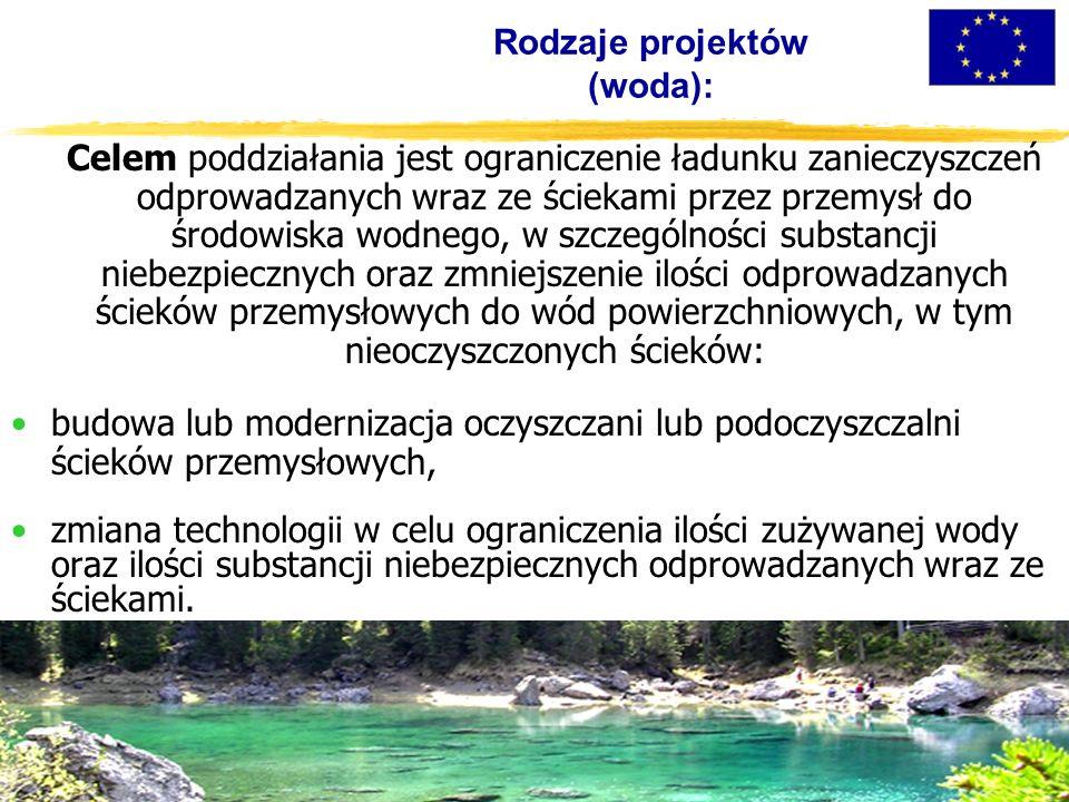 Rodzaje projektów (woda): Celem poddziałania jest ograniczenie ładunku zanieczyszczeń odprowadzanych wraz ze ściekami przez przemysł do środowiska wodnego, w szczególności substancji niebezpiecznych oraz zmniejszenie ilości odprowadzanych ścieków przemysłowych do wód powierzchniowych, w tym nieoczyszczonych ścieków: budowa lub modernizacja oczyszczani lub podoczyszczalni ścieków przemysłowych, zmiana technologii w celu ograniczenia ilości zużywanej wody oraz ilości substancji niebezpiecznych odprowadzanych wraz ze ściekami.