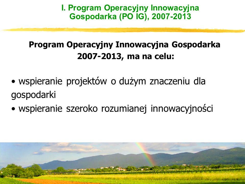 I. Program Operacyjny Innowacyjna Gospodarka (PO IG), 2007-2013 Program Operacyjny Innowacyjna Gospodarka 2007-2013, ma na celu: wspieranie projektów