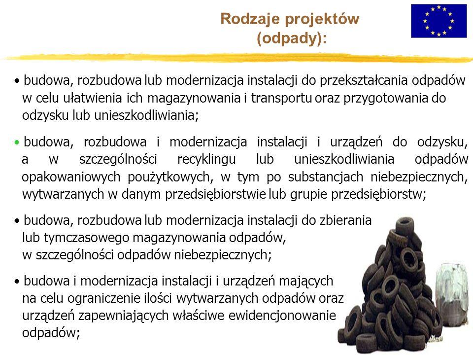 Rodzaje projektów (odpady): budowa, rozbudowa lub modernizacja instalacji do przekształcania odpadów w celu ułatwienia ich magazynowania i transportu oraz przygotowania do odzysku lub unieszkodliwiania; budowa, rozbudowa i modernizacja instalacji i urządzeń do odzysku, a w szczególności recyklingu lub unieszkodliwiania odpadów opakowaniowych poużytkowych, w tym po substancjach niebezpiecznych, wytwarzanych w danym przedsiębiorstwie lub grupie przedsiębiorstw; budowa, rozbudowa lub modernizacja instalacji do zbierania lub tymczasowego magazynowania odpadów, w szczególności odpadów niebezpiecznych; budowa i modernizacja instalacji i urządzeń mających na celu ograniczenie ilości wytwarzanych odpadów oraz urządzeń zapewniających właściwe ewidencjonowanie odpadów;